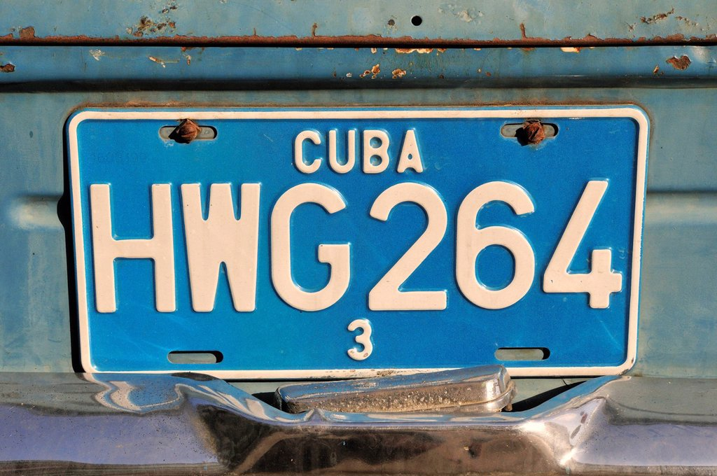 Stock Photo: 1848-673694 Number plate on a vintage car, old town Habana Vieja, Havana, Cuba, Caribbean