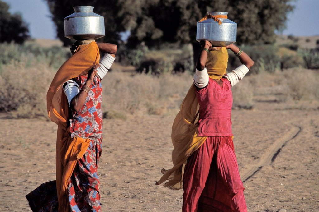 Stock Photo: 1848-674530 Women with veils over their faces carrying water containers on their heads, near Jaisalmer, Rajasthan, North India, India, Asia