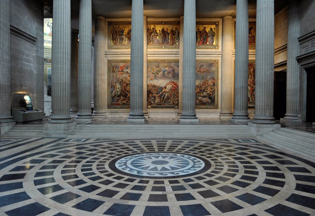 Interior with wall paintings, Panthéon, a mausoleum for French National heroes, Montagne Sainte_Geneviève, Hill of St. Genevieve, Paris, France, Europe : Stock Photo
