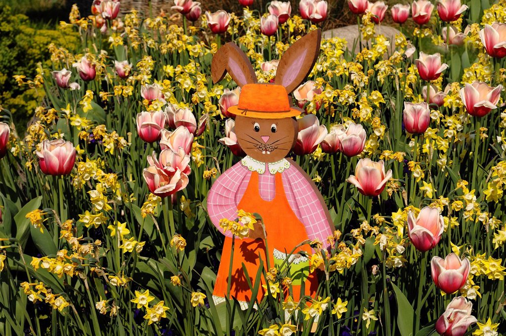 Easter Bunny figure in a flowerbed : Stock Photo