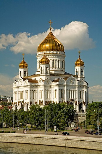 The river Moscva with Christ the Savior Cathedral Moscow, Russia, East Europe, Europe : Stock Photo
