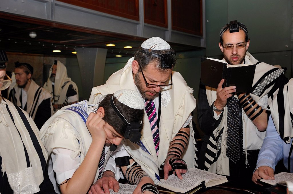 Stock Photo: 1848-675457 Bar Mitzvar, Jewish coming of age ritual, public reading from the books of the Prophets, Haftarah, Western Wall or Wailing Wall, Old City of Jerusalem, Arab Quarter, Jerusalem, Israel, Middle East