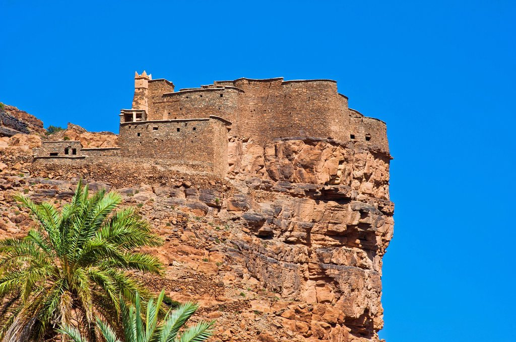 Agadir Aguelluy, a fortified castle on a cliff, Amtoudi, Anti_Atlas mountain range, southern Morocco, Morocco, Africa : Stock Photo
