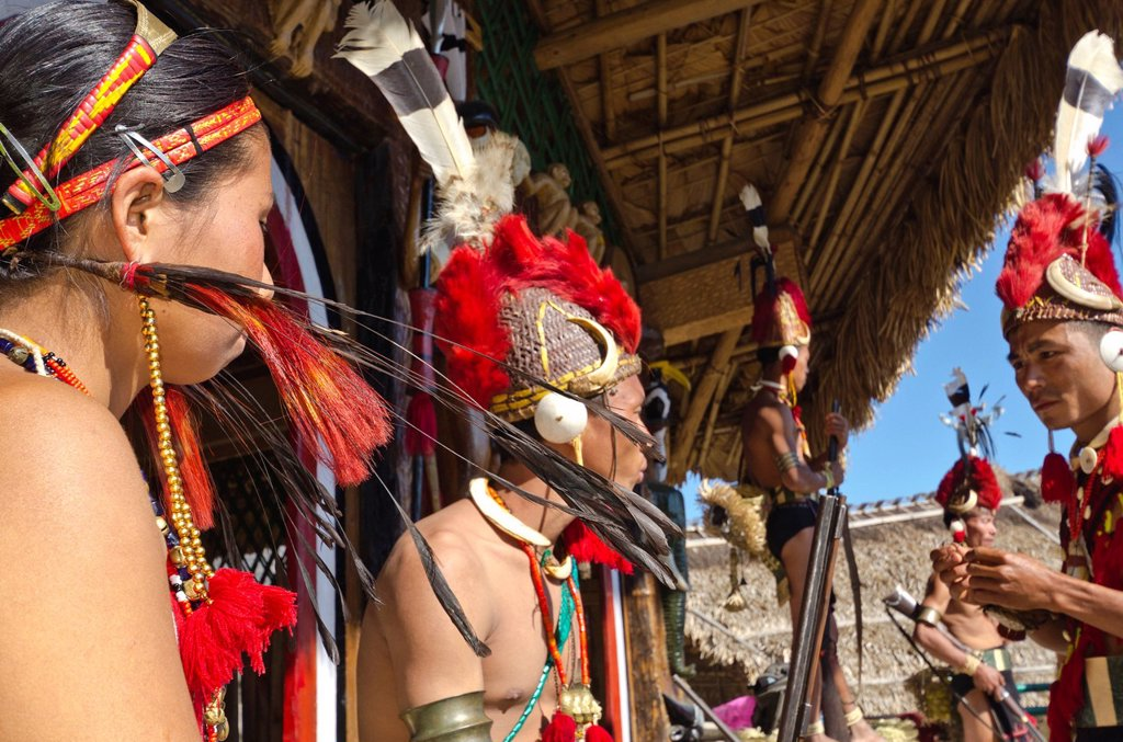 Stock Photo: 1848-675754 Phom warriors in full gear at the annual Hornbill Festival in Kohima, India, Asia