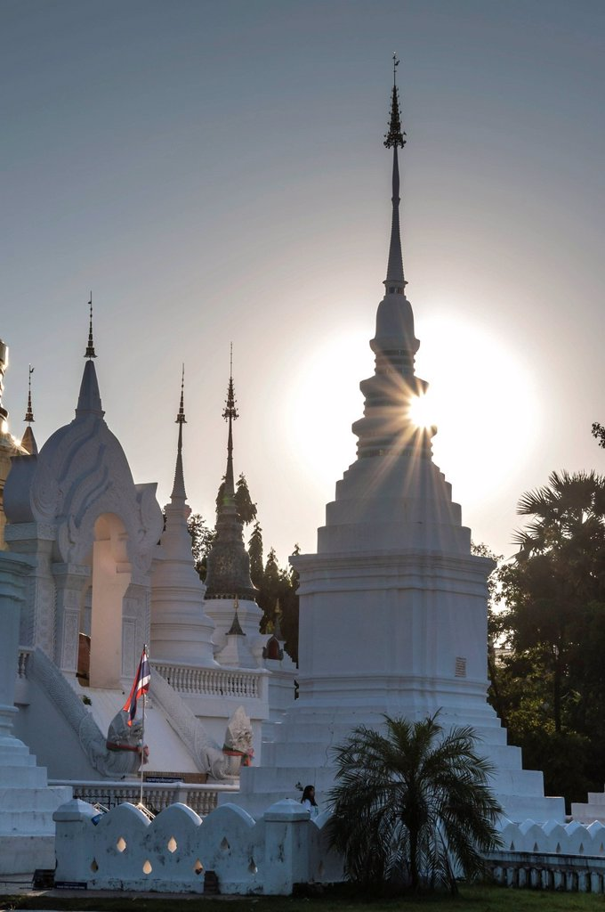 Stock Photo: 1848-675799 Stupas, Wat Suan Dok, Chiang Mai, northern Thailand, Thailand, Asia