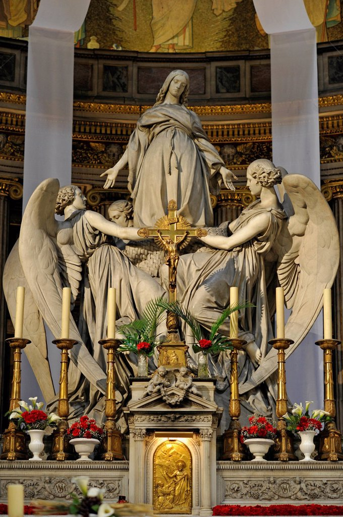 Stock Photo: 1848-675974 Statue of Mary Magdalene by Carlo Marochetti, high altar of the church Église de la Madeleine or L´église Sainte_Marie_Madeleine, Paris, France, Europe