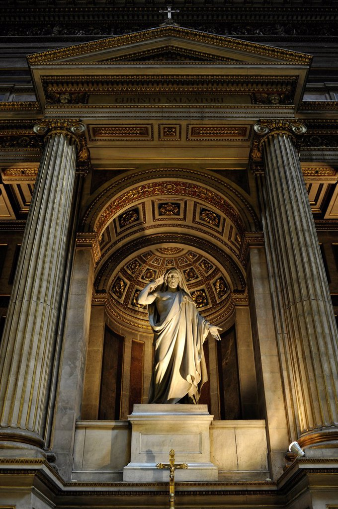 Interior, statues of biblical stories, church Église de la Madeleine or L´église Sainte_Marie_Madeleine, Paris, France, Europe : Stock Photo