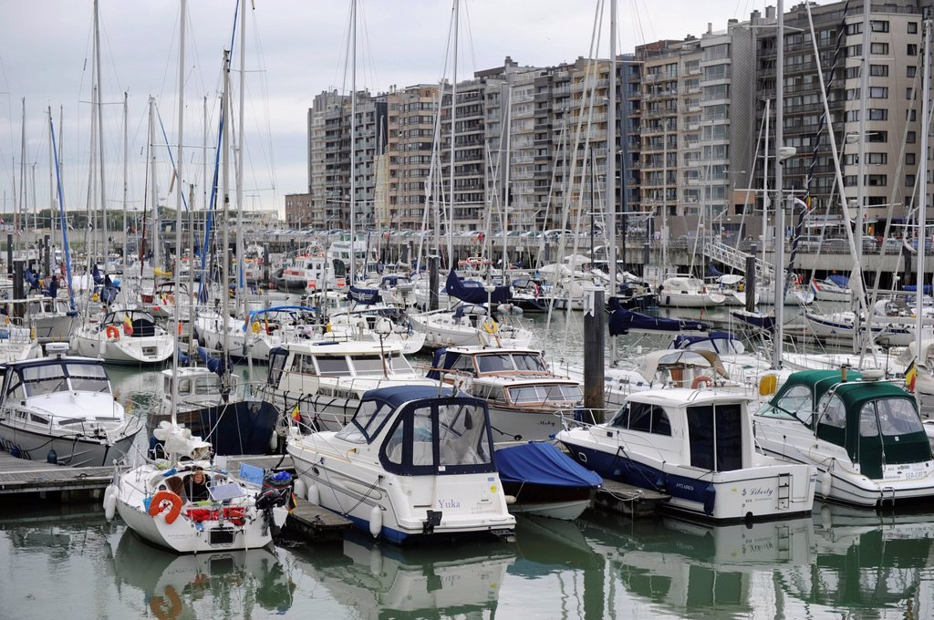 Stock Photo: 1848-676261 Old harbour of Blankenberge, Belgium, Europe