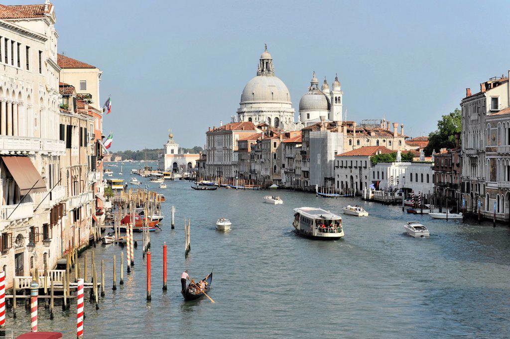Stock Photo: 1848-676369 Canal Grande, Grand Canal, with Chiesa Santa Maria della Salute church on right, Venezia, Venice, Veneto, Italy, Europe