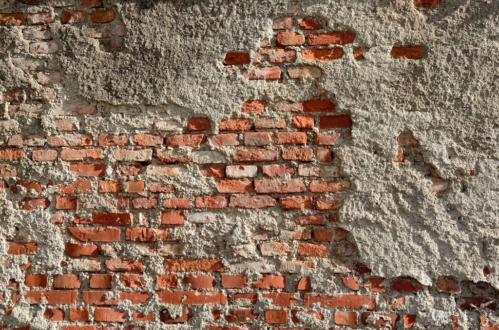 Stock Photo: 1848-676466 Brickwork of so_called Reichsformat or German format bricks with plaster peeling, Miesbach, Upper Bavaria, Bavaria, Germany, Europe