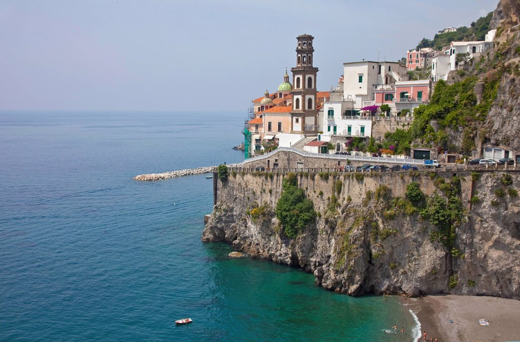 Stock Photo: 1848-676934 View on the village with church of St. Mary Magdalene, Atrani, Amalfi Coast, Unesco World Heritage Site, Province of Salerno, the Gulf of Salerno, Campania, Italy, Europe