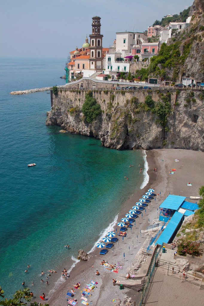 Stock Photo: 1848-676935 View on the village with church of St. Mary Magdalene, Atrani, Amalfi Coast, Unesco World Heritage Site, Province of Salerno, the Gulf of Salerno, Campania, Italy, Europe