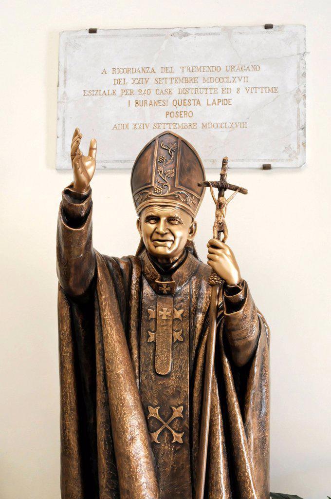 Stock Photo: 1848-677043 Statue of Pope John Paul II, Church of San Martino Vescovo, Burano, Venice, Veneto region, Italy, Europe