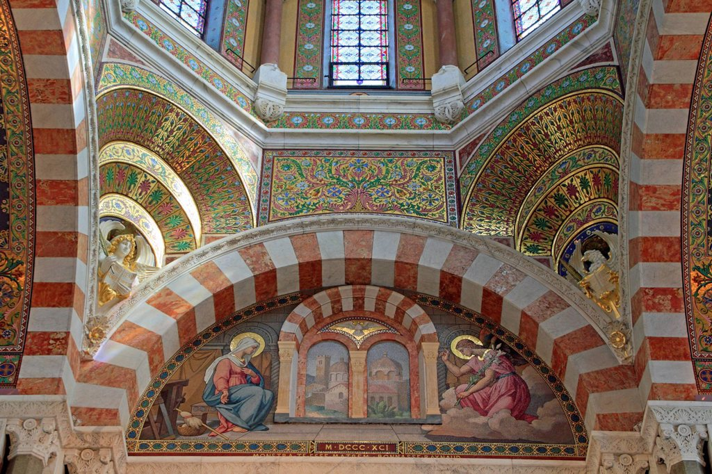 Mosaic of the Annunciation in the choir, church of Notre Dame de la Garde, Marseille, Bouches du Rhone, Provence_Alpes_Côte d´Azur region, France, Europe : Stock Photo