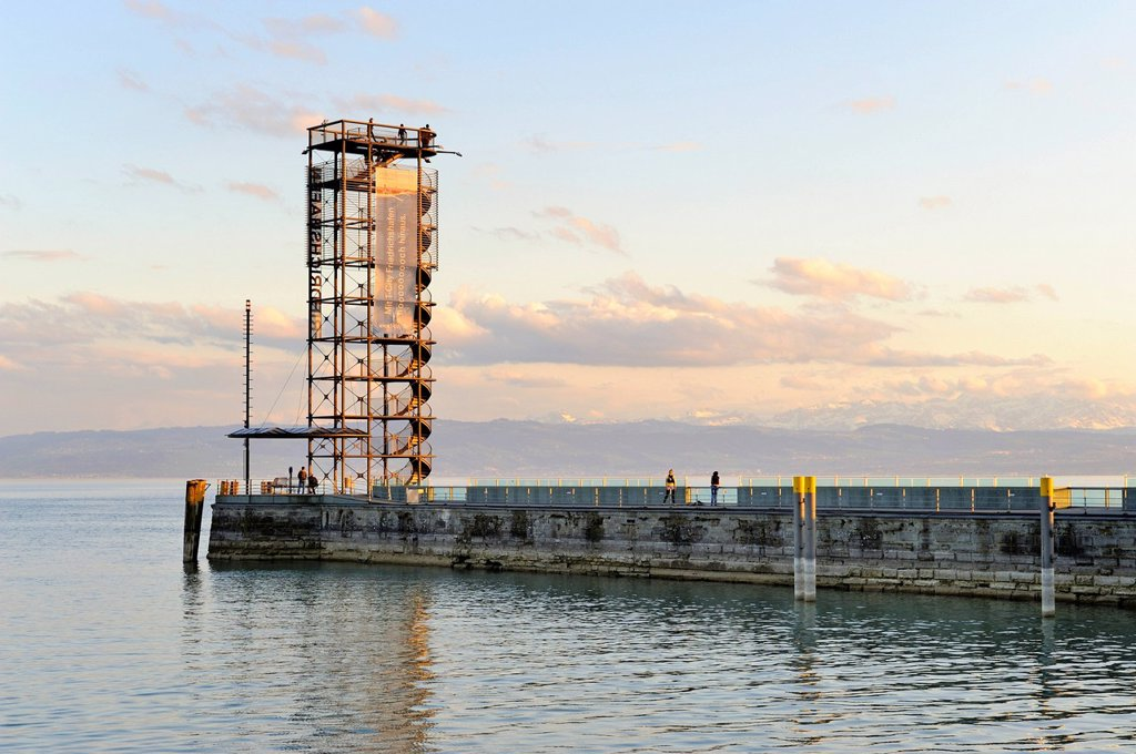 The 22m high Molenturm at the harbor entrance of Friedrichshafen, Bodenseekreis district, Baden_Wuerttemberg, Germany, Europe : Stock Photo