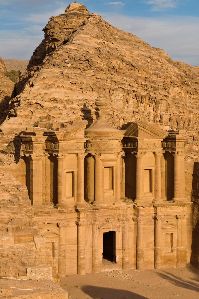 Stock Photo: 1848-677245 Ancient tomb carved in the rock, Ed Deir, Ad Deir, Petra, Jordan, Middle East, Asia
