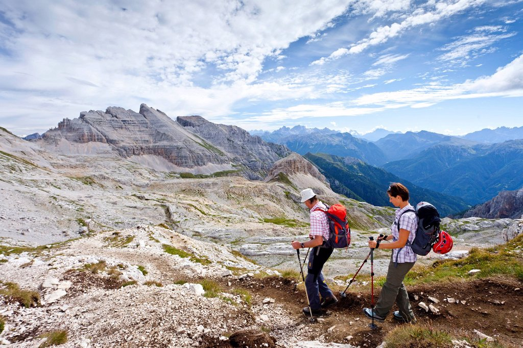 Climbers crossing the Latemar massif, fixed rope route, Dolomites, in the back the Latemar massif, South Tyrol, Italy, Europe : Stock Photo