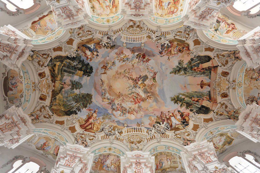 Stock Photo: 1848-677332 Interior, ceiling fresco, Wallfahrtskirche St. Peter und Paul pilgrimage church, built by the brothers Zimmermann 1728 _ 1731, Steinhausen, Baden_Wuerttemberg, Germany, Europe