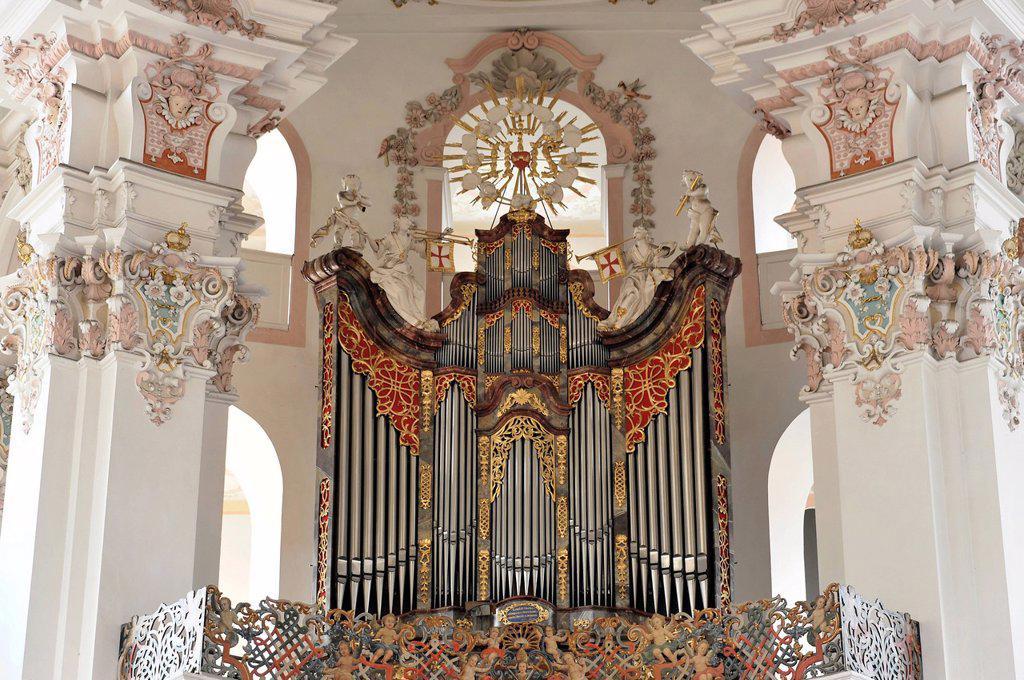 Stock Photo: 1848-677333 Detail, organ, Wallfahrtskirche St. Peter und Paul pilgrimage church, built by the brothers Zimmermann 1728 _ 1731, Steinhausen, Baden_Wuerttemberg, Germany, Europe