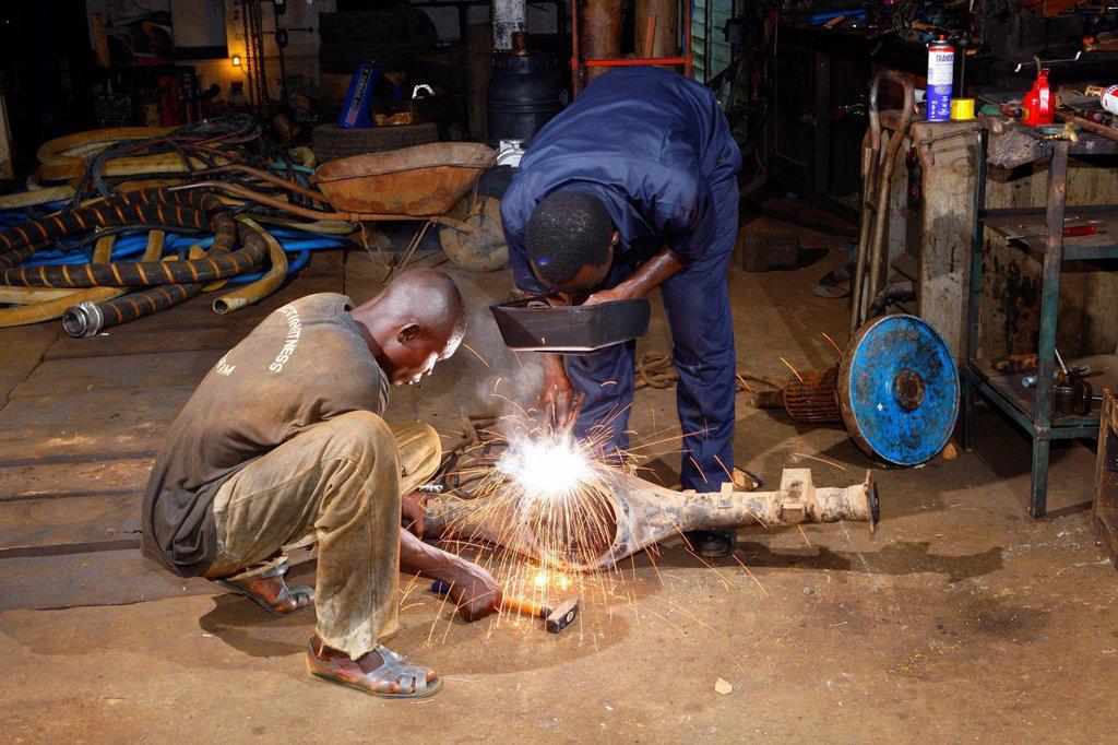 Stock Photo: 1848-677344 Mechanics welding, Manyemen, Cameroon, Africa