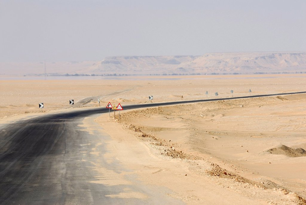 Stock Photo: 1848-677535 Desert road between the Farafra Oasis and the Dakhla Oasis, Western Desert, Egypt, Africa