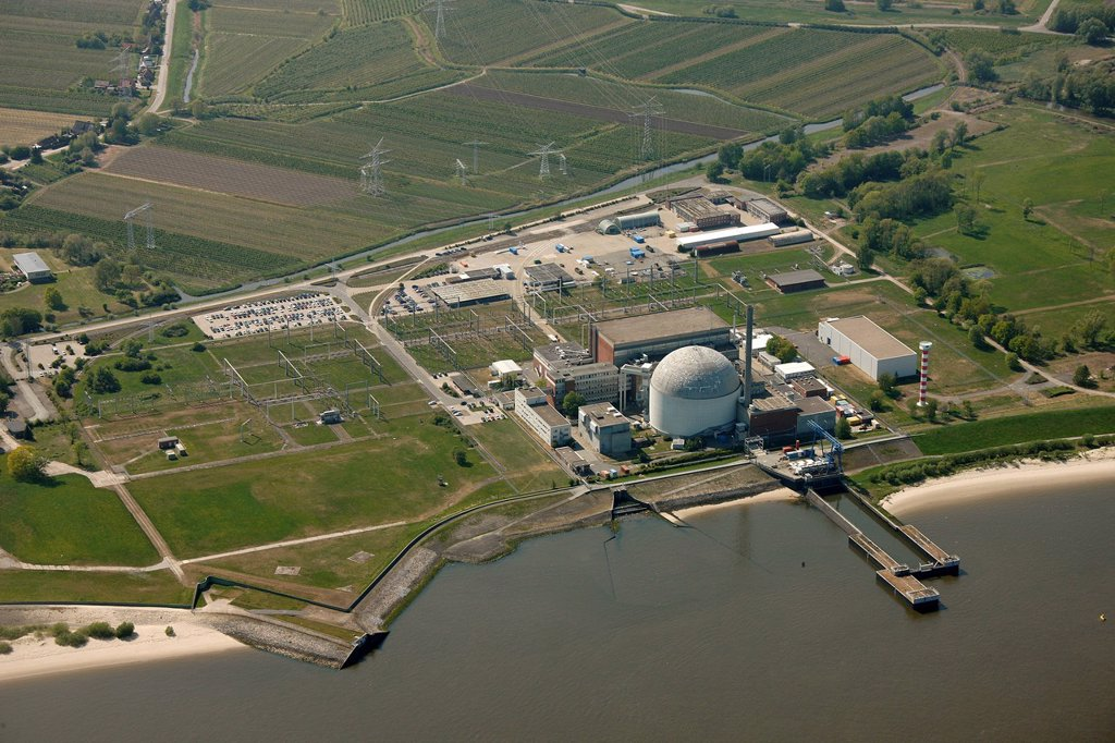 Stock Photo: 1848-677924 Aerial view, Stade Nuclear Power Plant, KKS nuclear power station, Lower Saxony, Germany, Europe