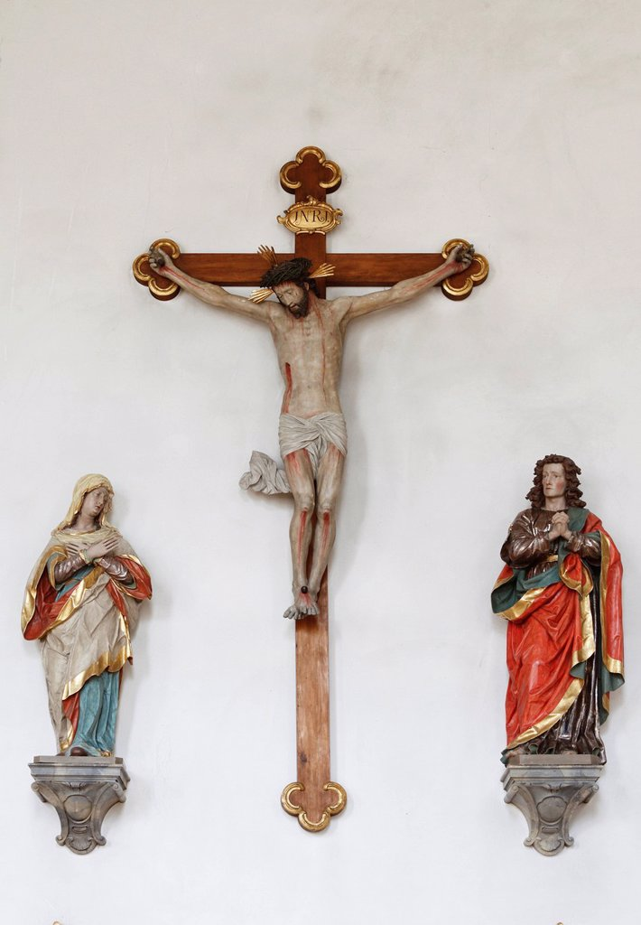 Stock Photo: 1848-678126 Crucifixion group, Parish Church of St. John the Baptist, Peissenberg, Pfaffenwinkel, Upper Bavaria, Bavaria, Germany, Europe