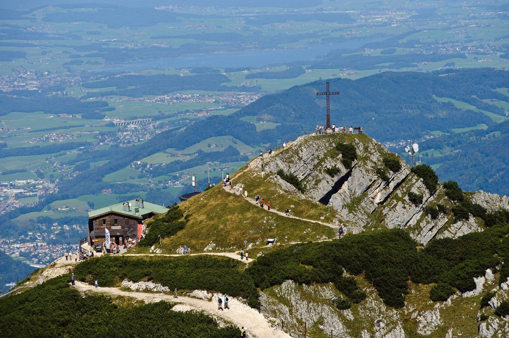 Untersberg, Geiereck and Hochalm mountain pasture as seen from Salzburger Hochthron mountain, Groedig, Salzburg, Austria, Europe : Stock Photo