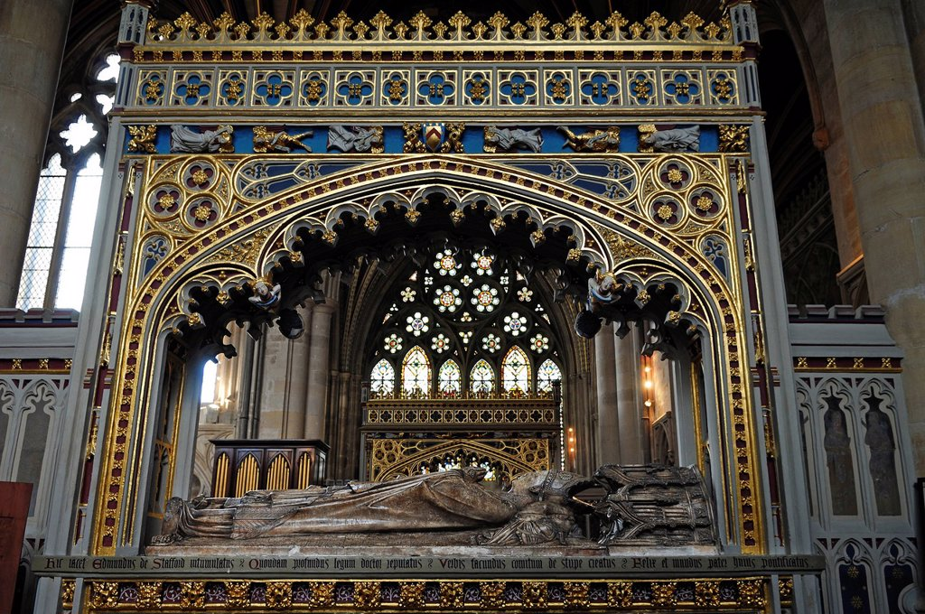 Stock Photo: 1848-678238 Grave of Edmund of Stafford, 14th century, Bishop of Exeter, Exeter Cathedral, 13th century, Exeter, Devon, England, United Kingdom, Europe
