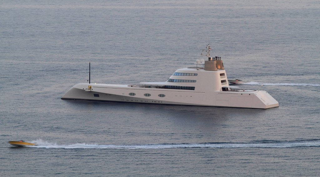 Motor Yacht A, built by shipyard Blohm + Voss GmbH in 2008, length 119 metres, owned by Andrey Melnichenko, on the Côte d´Azur, France, Mediterranean, Europe : Stock Photo