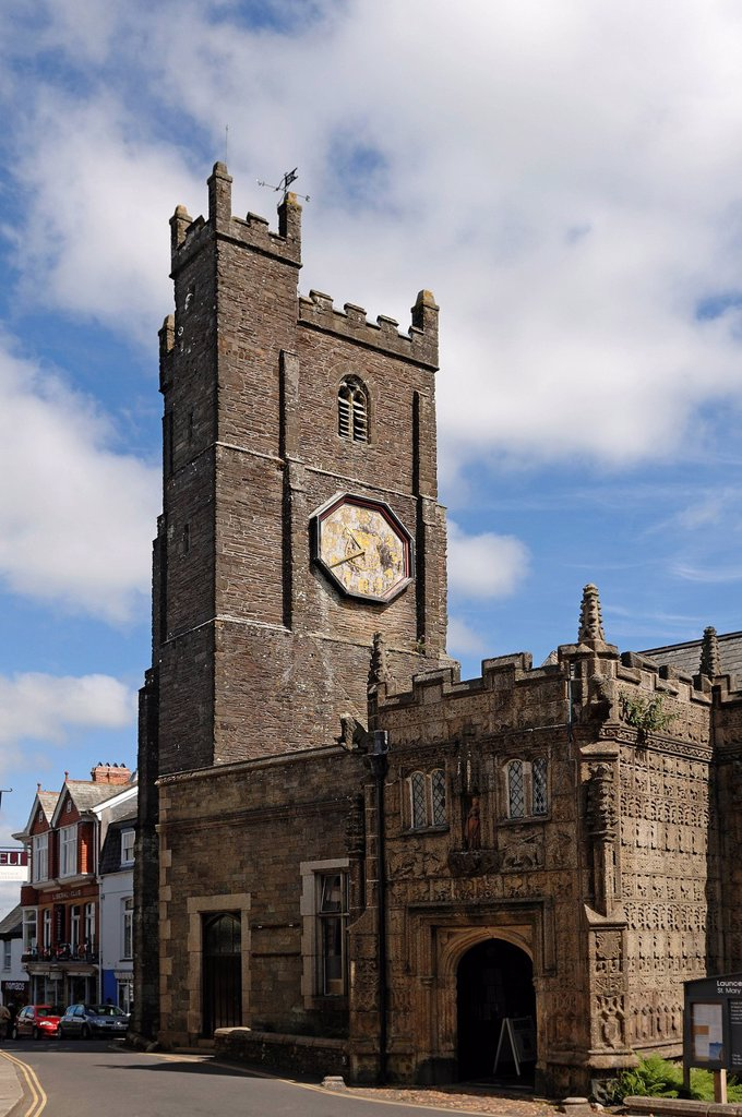 Stock Photo: 1848-678652 Church of St Mary Magdalene, 1511, tower from 13th Century, Church Street, Launceston, Cornwall, England, United Kingdom, Europe