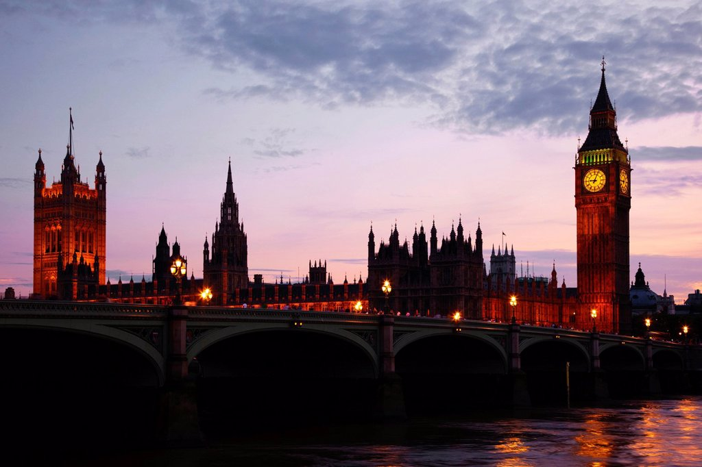 Stock Photo: 1848-678679 River Thames with Westminster Bridge and the Houses of Parliament at dusk, London, England, United Kingdom, Europe