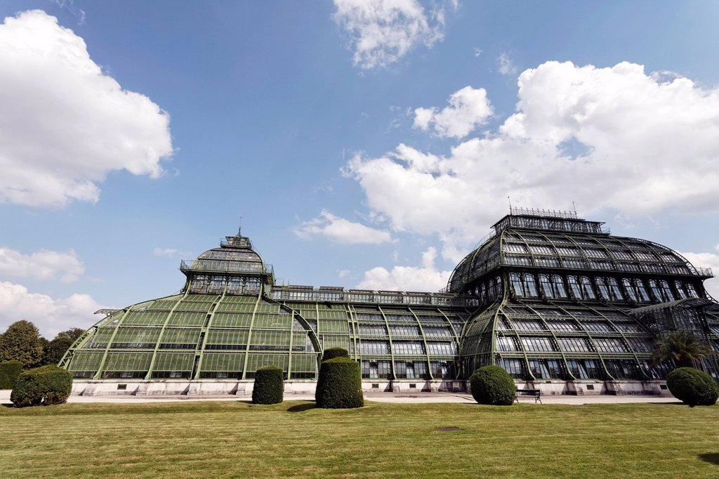 Palmenhaus greenhouse, historic iron structure, Schloss Schoenbrunn palace, Hietzing district, Vienna, Austria, Europe : Stock Photo