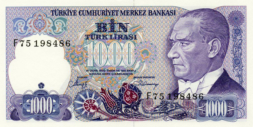 Bank note from Turkey, 1000 Lira, Ataturk Kemil, 1986 : Stock Photo