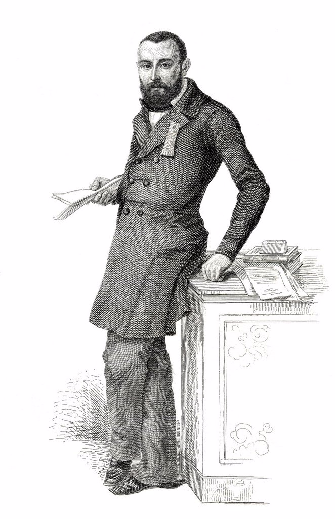 Historic steel engraving from the 19th century, image of the French politician Jules Félix Giraudon, member of the French National Assembly, France, 1848 : Stock Photo