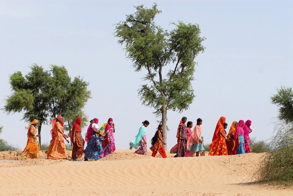 Stock Photo: 1848-679206 Ram Devra pilgrims, Ramdevra, Thar desert, in Pokaran, Pokhran, Rajasthan, India, Asia