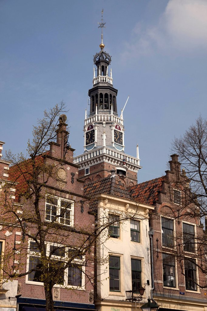 Stock Photo: 1848-679253 Gable and tower of the former weigh building, now Holland Kaasmuseum Dutch cheese museum, Alkmaar, North Holland, Netherlands, Europe