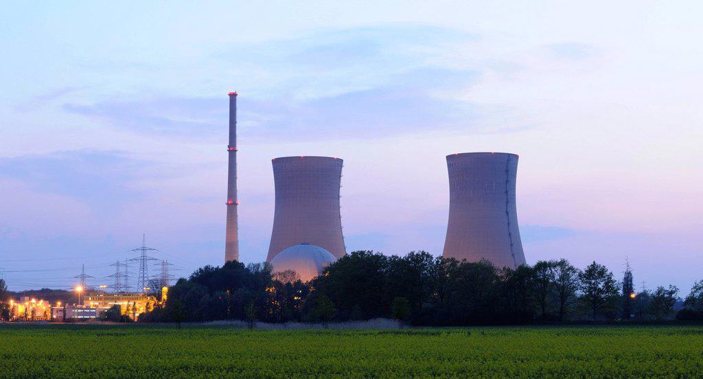 Stock Photo: 1848-679898 Grafenrheinfeld Nuclear Power Station, out of service, Grafenrheinfeld, Lower Franconia, Franconia, Bavaria, Germany, Europe