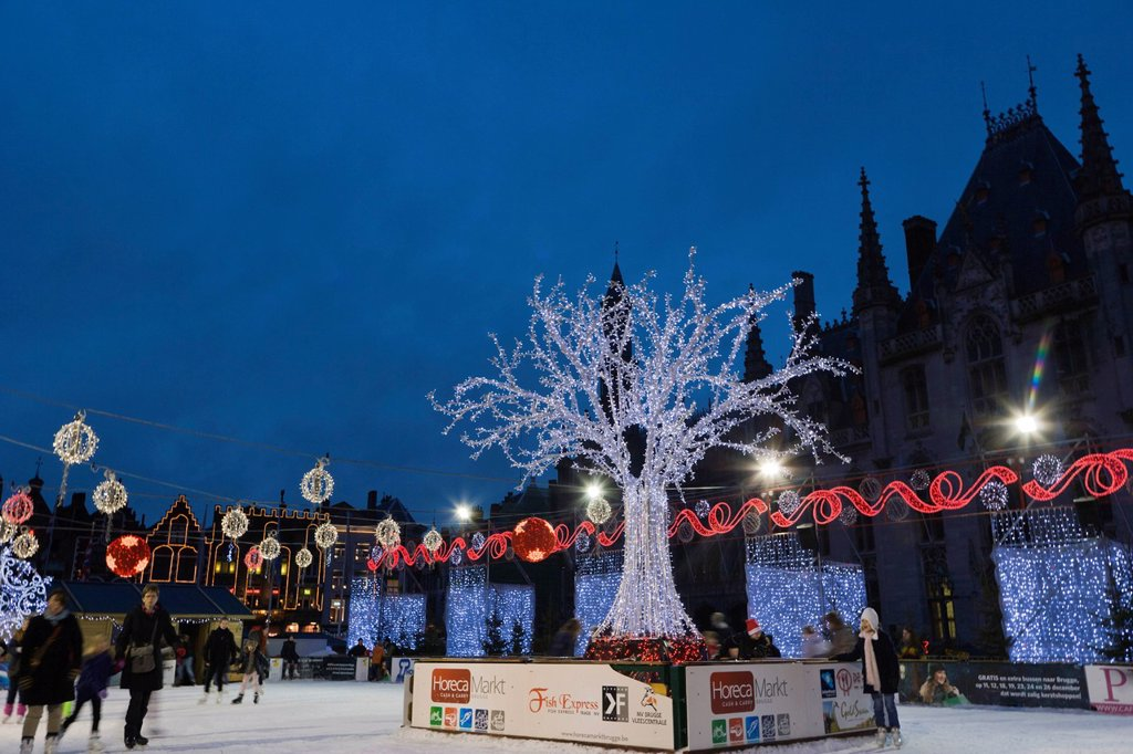 Stock Photo: 1848-680347 The ice rink on the Grote Markt market square in winter, Bruges, Brugge, West Flanders, Flemish Region, Belgium, Europe