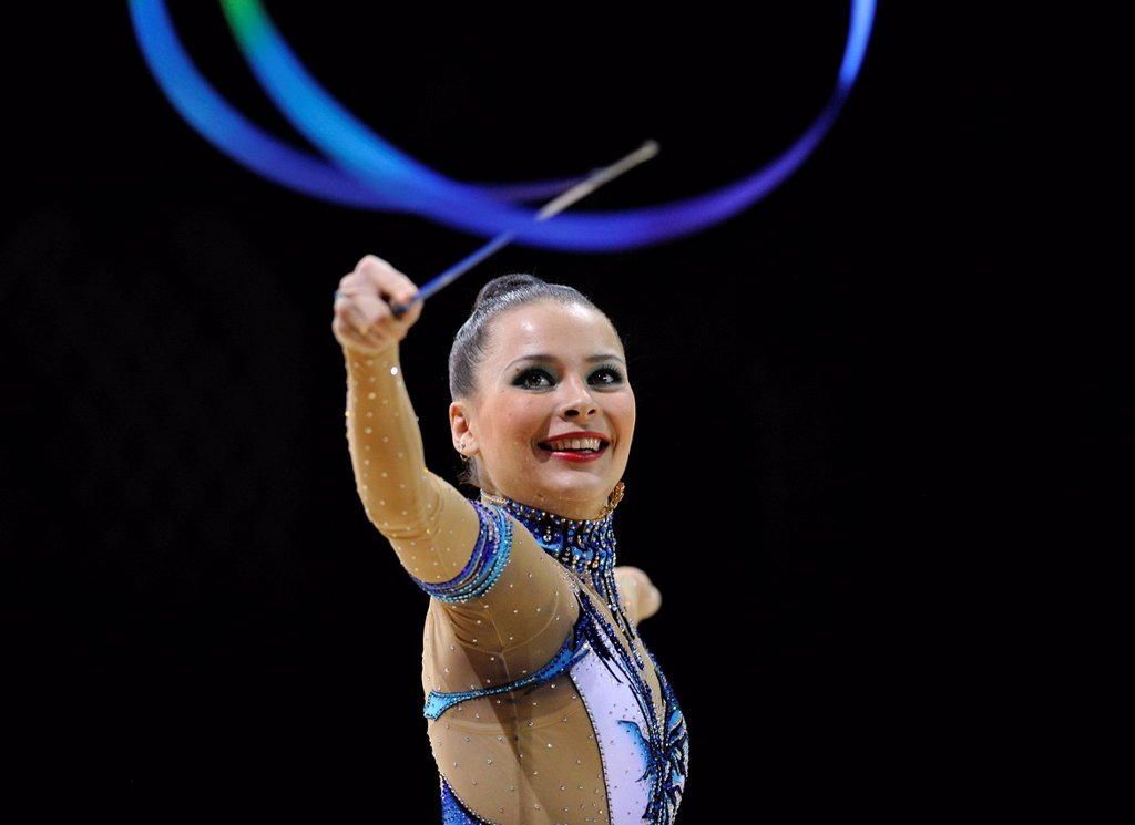 Stock Photo: 1848-680456 Ulyana Trofimova, UKR, with ribbon, Rhythmic Gymnastics Grand Prix Thiais, 09 _ 10.04.2011, Paris, France, Europe