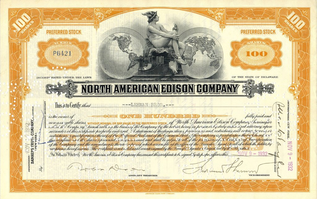 Stock Photo: 1848-680758 Historic stock certificate, share, North American Edison Company, issued to Lehman Brothers, 1932, Delaware, USA