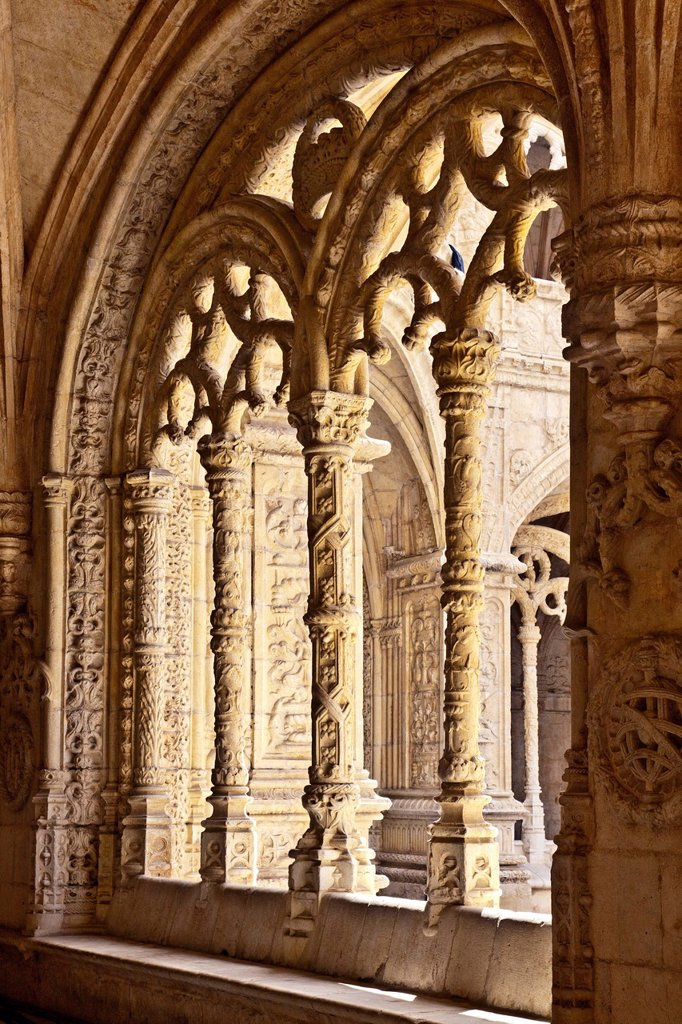 Stock Photo: 1848-680898 Cloister, monastery church, Jerónimos Monastery, Belem, Lisbon, Portugal, Europe