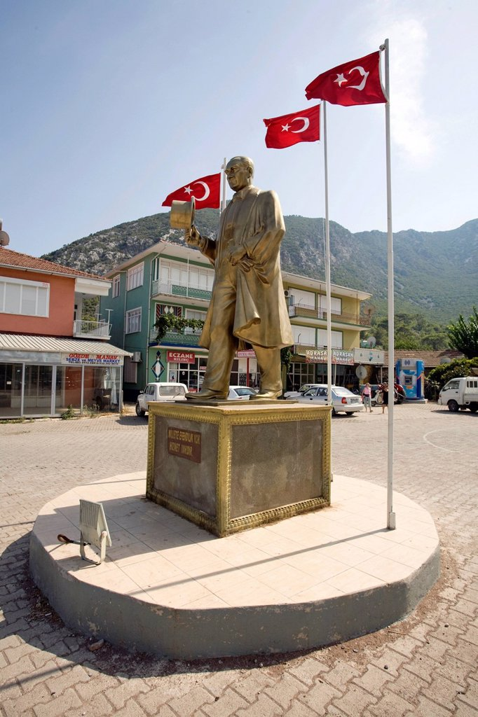 Stock Photo: 1848-680969 Statue of Mustafa Kemal Atatuerk in the market square founder of modern Turkey, in a small village near Adrasan, Lycia, Turkey, Mediterranean
