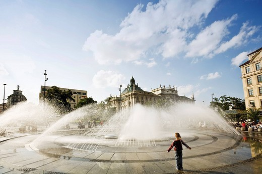 Fountain at Stachus Karlsplatz square in Munich, Bavaria, Germany, Europe : Stock Photo