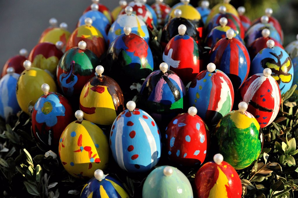 Easter eggs on an easter fountain, Schechingen, Baden_Wuerttemberg, Germany, Europe : Stock Photo