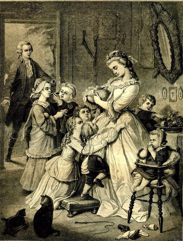 Stock Photo: 1848-681295 Charlotte, heroine of Goethe´s WERTHER, historical illustration, 1872