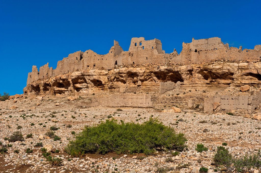 Stock Photo: 1848-681443 Ruins of an abandoned village on a cliff, Ksar Meski, Ziz Valley, southern Morocco, Morocco, Africa