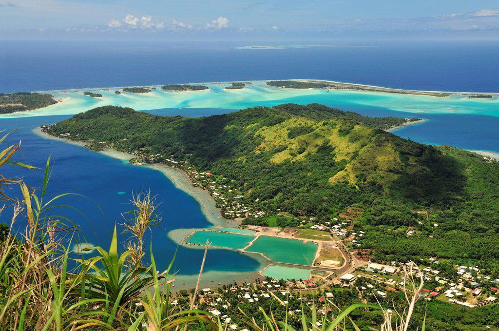 View of Vaitape, Bora Bora, Leeward Islands, Society Islands, French Polynesia, Pacific Ocean : Stock Photo