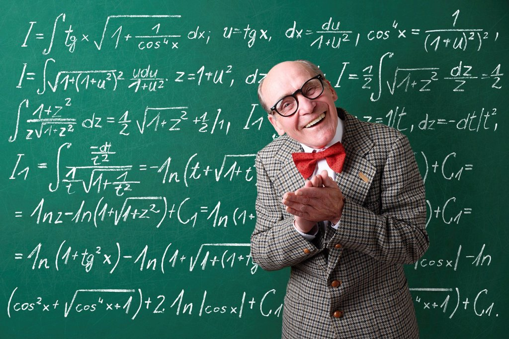 Professor, teacher, blackboard, mathematic formulas, equations, mathematic lessons, maths : Stock Photo