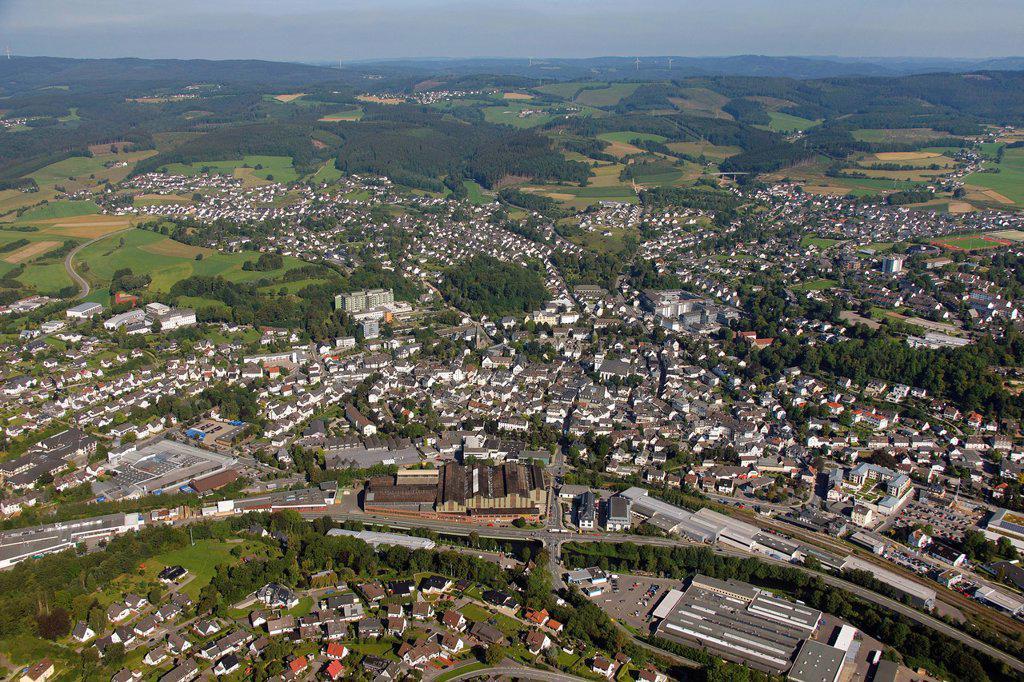 Stock Photo: 1848-682052 Aerial view, fisheye shot, historic town centre with St. John Baptist Church, Attendorn, Sauerland, North Rhine_Westphalia, Germany, Europe